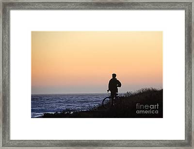 A Boy His Bike And The Beach Framed Print by Norma Warden