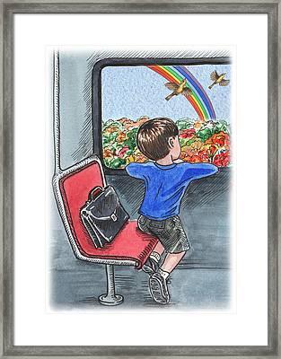 A Boy On The Bus Framed Print by Irina Sztukowski
