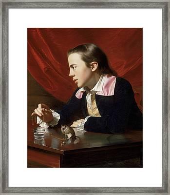 A Boy With A Flying Squirrel  Framed Print