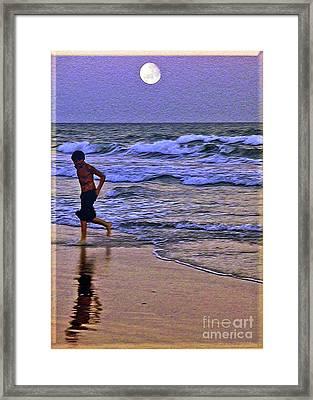 A Boy's Beach Run Framed Print