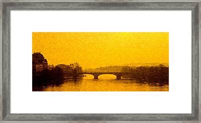 A Bridge In Praha Framed Print by Robert Meyerson