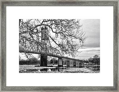 A Bridge In Winter Framed Print by Olivier Le Queinec