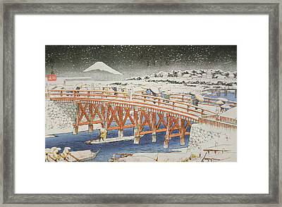 A Bridge In Yedo With Mount Fuji In The Background Framed Print
