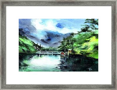 Framed Print featuring the painting A Bridge Not Too Far by Anil Nene