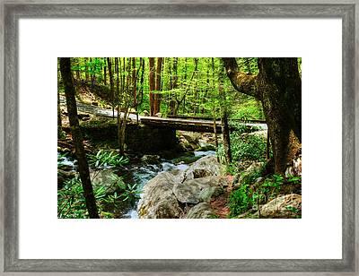 A Bridge Over Bubbled Water Framed Print by Mel Steinhauer