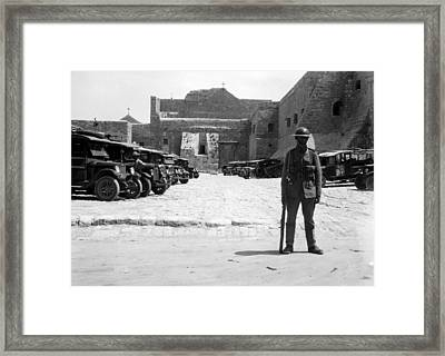 A British Soldier In Front Of Nativity Church Framed Print by Munir Alawi
