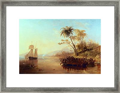 A British Surveying Ship In The South Pacific Greeted By Islanders Framed Print