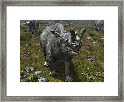 A Brontotherium Leaves His Forest Framed Print by Walter Myers