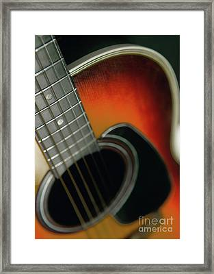 Framed Print featuring the photograph  Guitar  Acoustic Close Up by Bruce Stanfield