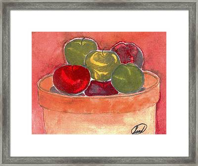 Framed Print featuring the painting A Bucket Full Of Apples by Saad Hasnain
