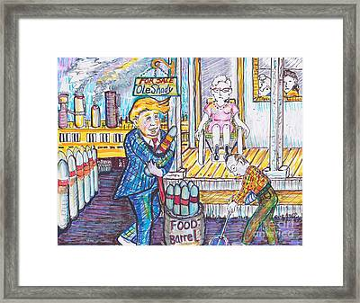 A Budget Which Includes Cluster Bombs As A New Food Item Framed Print by Susan Brown    Slizys art signature name
