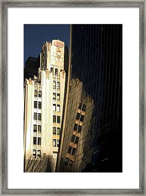 A Building Into A Building Framed Print by Karol Livote