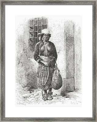 A Bulgarian Gypsy Woman In The 19th Framed Print by Vintage Design Pics