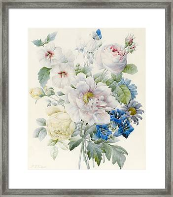 A Bunch Of Flowers Framed Print by Pierre Joseph Redoute