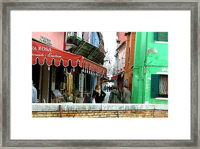 A Burano Street Framed Print by Mindy Newman