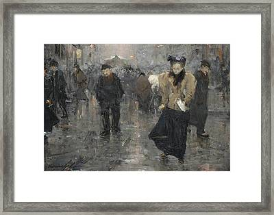 A Busy Street Scene In The Hague Framed Print