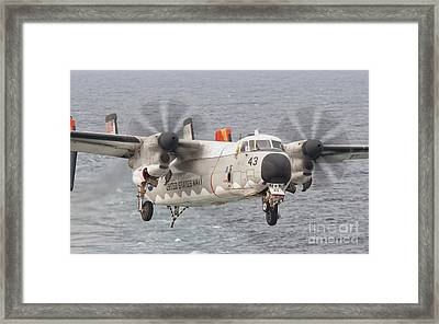 A C-2a Greyhound Prepares For Landing Framed Print by Giovanni Colla