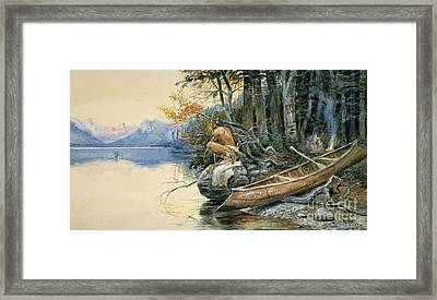 A Camp Site By The Lake Framed Print by Charles Marion Russell