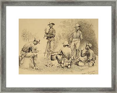 A Campfire Sketch Framed Print by Frederic Remington
