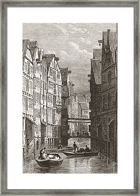A Canal In Hamburg, Germany In The 19th Framed Print