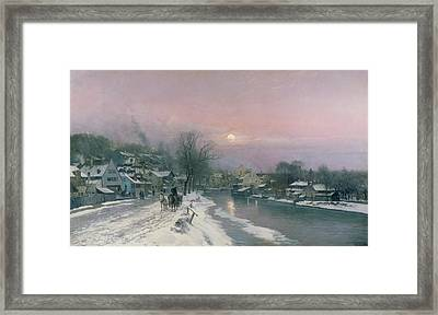 A Canal Scene In Winter  Framed Print by Anders Anderson Lundby