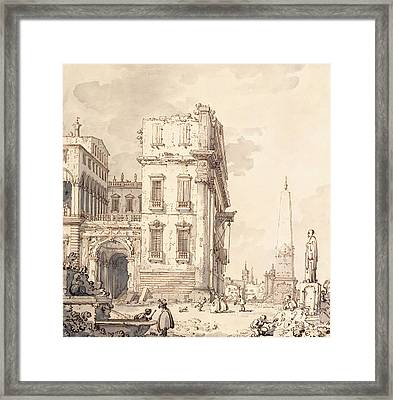 A Capriccio Of A Venetian Palace Overlooking A Piazza With An Obelisk Framed Print