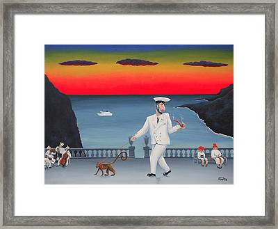 A Captain And His Monkey Framed Print by Poul Costinsky