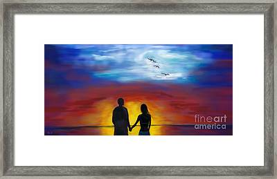 Framed Print featuring the painting A Captivating Love by Leslie Allen