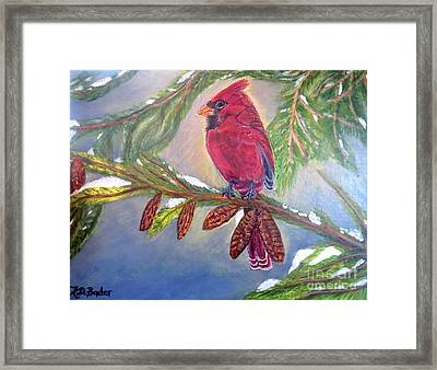 Framed Print featuring the painting A Cardinal's Sweet And Savory Song Of Winter Thawing Painting by Kimberlee Baxter