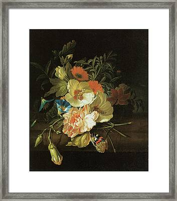 A Carnation Morning Glory With Other Flowers Framed Print