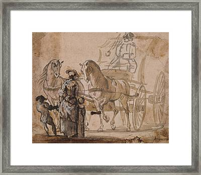 A Carriage And Pair, With Coachman Framed Print