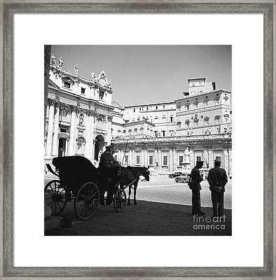 A Carriage And Police At Vatican City, Rome, 1955 Framed Print