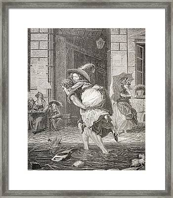 A Carrier Ferrying A Woman Across The Framed Print