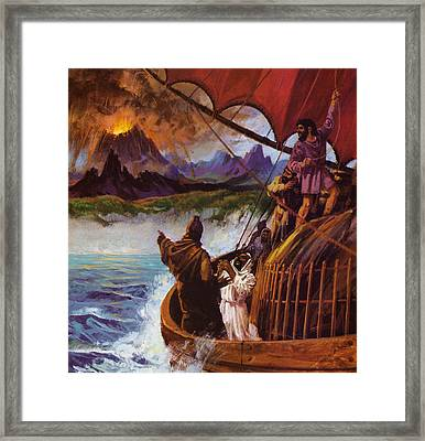 A Carthaginian Vessel Spotting A Volcano Erupting Framed Print by English School
