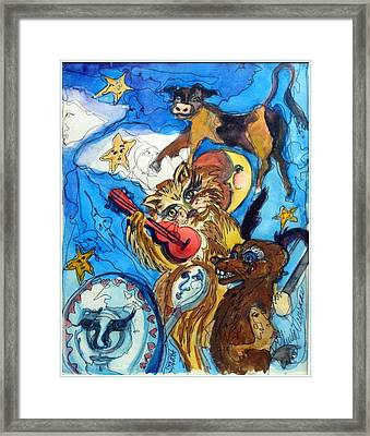A Cat And A Fiddle Framed Print by Mindy Newman