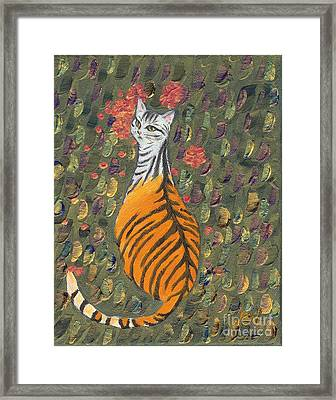 Framed Print featuring the painting A Cat's Dream Apparel by Jingfen Hwu