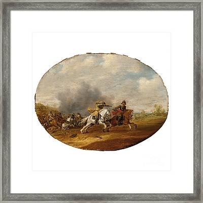 A Cavalry Skirmish With A Battle Beyond Framed Print by Celestial Images
