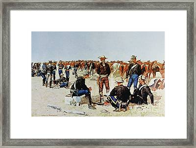 A Cavalryman's Breakfast On The Plains Framed Print by Frederic Remington