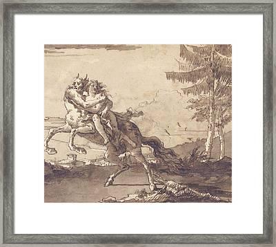 A Centaur Abducting A Nymph Framed Print