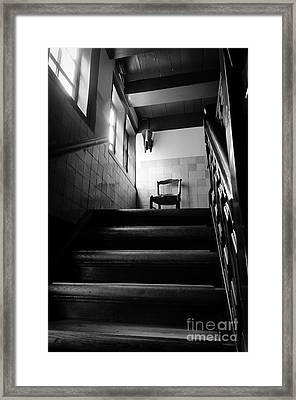 A Chair At The Top Of The Stairway Bw Framed Print by RicardMN Photography