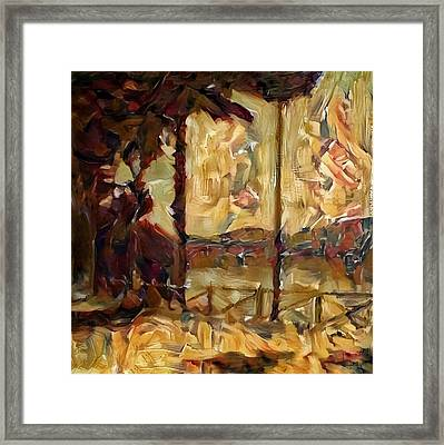 A Chance In The World Movie Golden Glowing Master Museum Artwork In Green Brown Yellow Gold With Fence Trees And Mountain Plantation Lake In Warm Earth Colors Framed Print by MendyZ