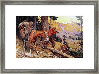 A Chance On The Trail Framed Print