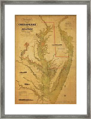 A Chart Chesapeake And Delaware Framed Print by Randy Vreeke