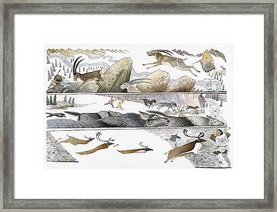 A Chart Illustrates Early Hunting Framed Print by Jack Unruh