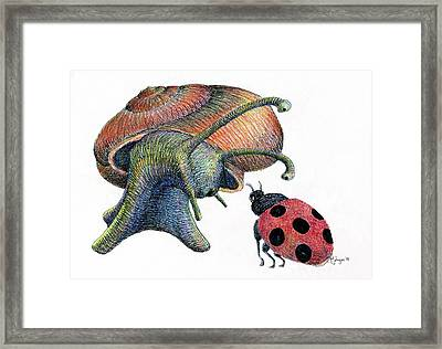 A Chat In The Garden Framed Print