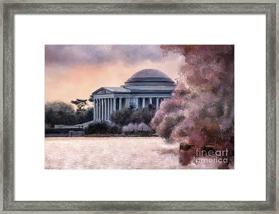 Framed Print featuring the digital art A Cherry Blossom Dawn by Lois Bryan