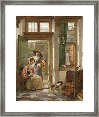 A Cherry Vendor At The Door Framed Print by Abraham Van Strij