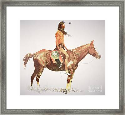 A Cheyenne Brave Framed Print by Frederic Remington