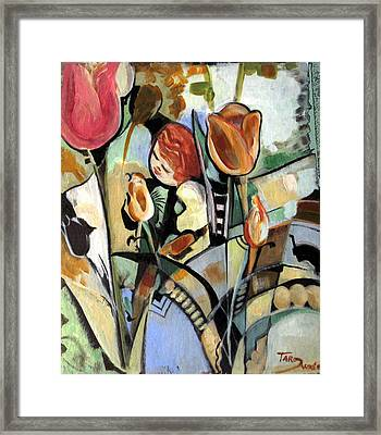 A Child Among Flowers Framed Print by Therese AbouNader