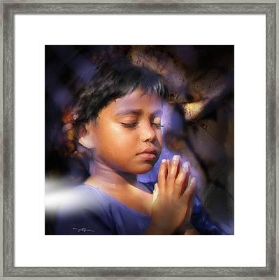 A Child's Prayer Framed Print by Bob Salo